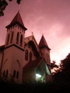 Hati Kudus Church in the evening